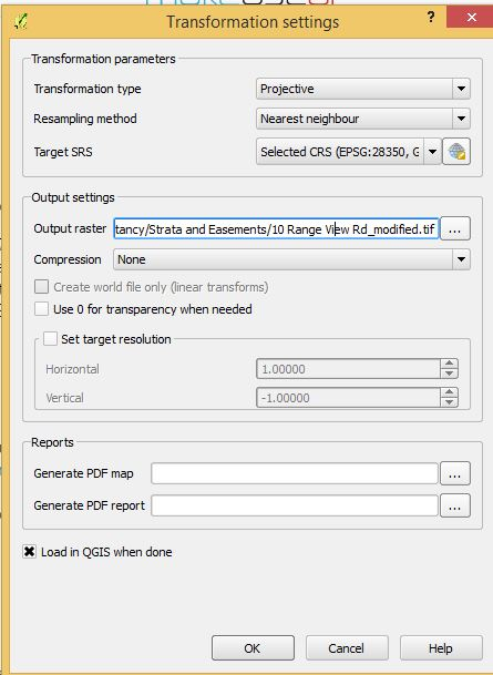 georeference settings